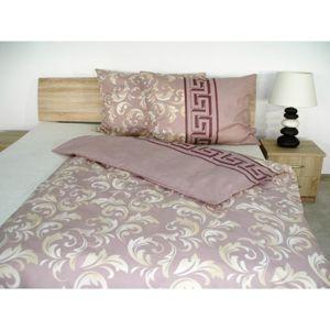 Forbyt, Súprava 1+1 posteľnej bavlneného obliečky, Ornament fialovoružová