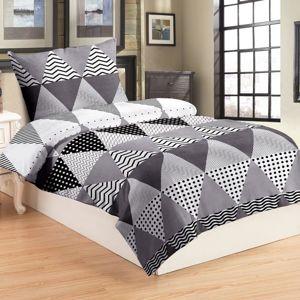 Forbyt, Posteľná obliečky mikroflanel, trojuholník šedé 140 x 200 cm + 70 x 90 cm