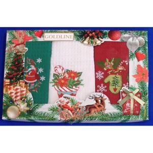 Darčekové balenie 3 ks bavlnených utierok, Vianoční betlehemská hviezda, 50 x 70 cm